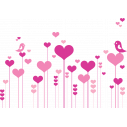 Wall stickers Flowers hearts and birds in love