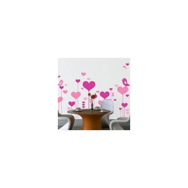 Αυτοκόλλητο τοίχου Λουλούδια καρδιές και ερωτευμένα πουλιά