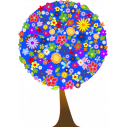 Wall stickers Flower tree, blue background