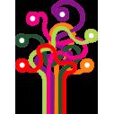 Δέντρο γραμμών,  αυτοκόλλητο τοίχου, κοντινό