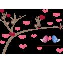Πουλιά σε κούνια, αυτοκόλλητο τοίχου  , κοντινό