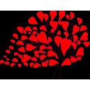 Σύνθεση με φύλλα καρδιές,  αυτοκόλλητο τοίχου, κοντινό