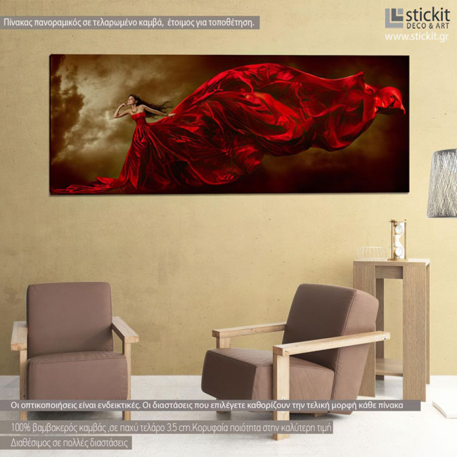 Canvas print Woman in red dress, panoramic
