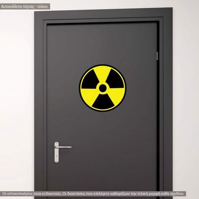 Αυτοκόλλητο τοίχου πόρτας. Πινακίδα Ραδιενεργό, radio active