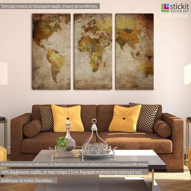 Πίνακας σε καμβά Παγκόσμιος χάρτης vintage, τρίπτυχος