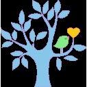Καρδιά και πουλί γαλάζιο, αυτοκόλλητο τοίχου, κοντινό