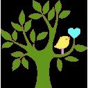 Wall stickers Tree, Heart and bird, green