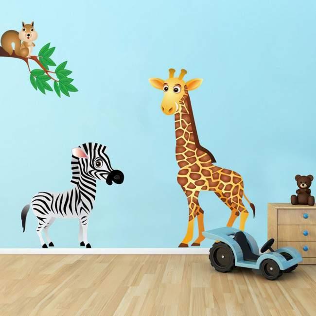 Αυτοκόλλητα τοίχου παιδικά Ζωάκια της ζούγκλας στην διάσταση που θέλετε