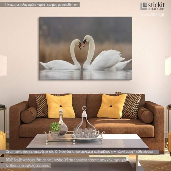 Πίνακας σε καμβά Κύκνοι, Swans in love