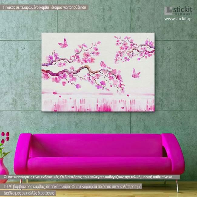 Πίνακας σε καμβά Ανθισμένη κερασιά, Blossom cherries