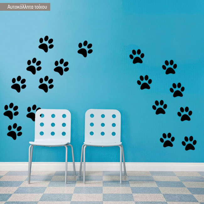 Kids wall stickers Dogs footsteps