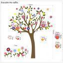 Kids wall stickers tree, owls, flowers and birds, Happy owls, alternative colors