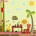 Αυτοκόλλητο τοίχου υψομετρητής, Γοριλάκι, λιονταράκι, καμηλοπάρδαλη και δέντρο, Love nature