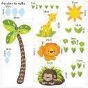 Wall stickers height measure, Little Gorilla, lion, giraffe and tree, Love nature