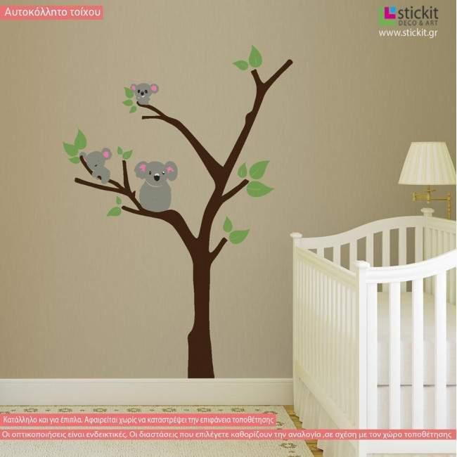 Αυτοκόλλητα τοίχου παιδικά κοάλα στο δέντρο, Koala family tree, παράσταση