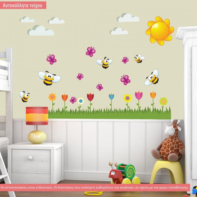 Wall stickers Honey bee, flowers, pink butterflies