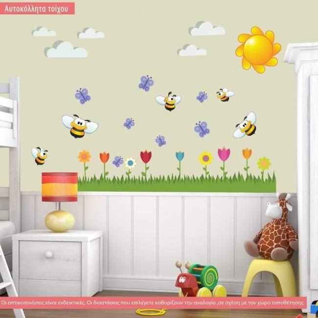 Αυτοκόλλητα τοίχου παιδικά Μελισσούλες,  λουλούδια, γαλάζιες πεταλούδες