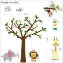 Αυτοκόλλητο τοίχου, ζωάκια ζούγκλας και δέντρο, Cute Africa
