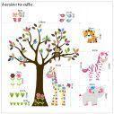 Αυτοκόλλητο τοίχου, ζωάκια ζούγκλας και δέντρο, Cute Pink Africa