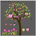 Kids wall stickers tree, owls, flowers and birds, Happy owls,  art 3