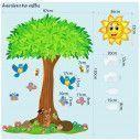 Αυτοκόλλητο τοίχου, Στην σκιά του δέντρου,  δέντρο και ζωάκια