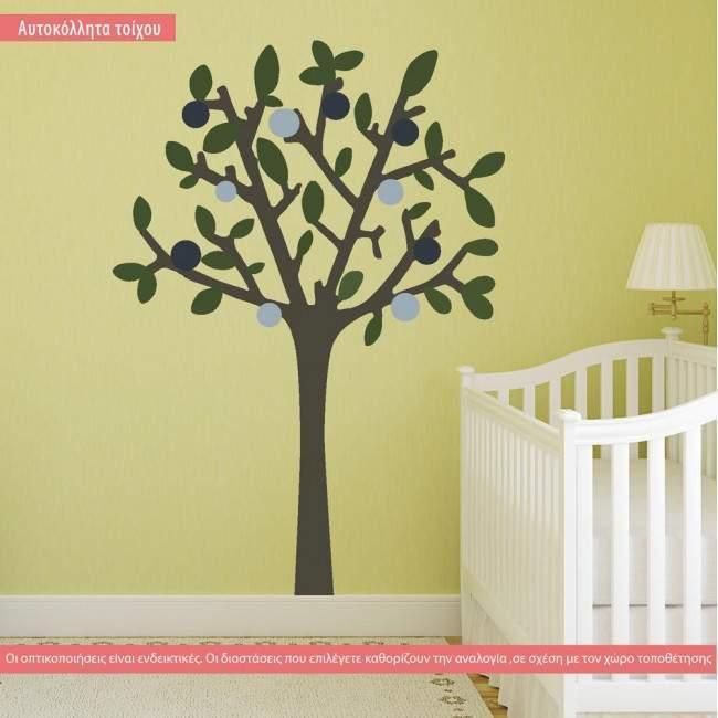 Wall stickers blue green nursery tree