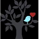 Καρδιά και πουλί σε υπέροχο συνδυασμό | Αυτοκόλλητο τοίχου , κοντινό