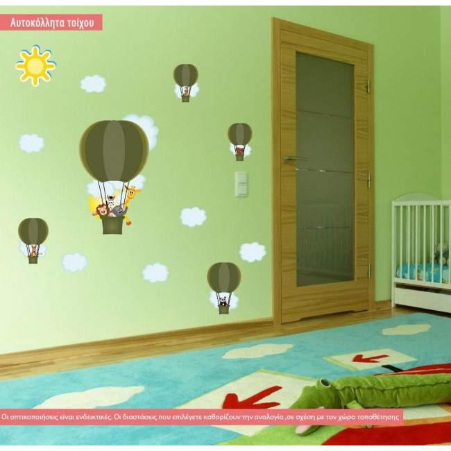 Αυτοκόλλητο τοίχου αερόστατα, ζωάκια, Βόλτα με αερόστατο (earth green)