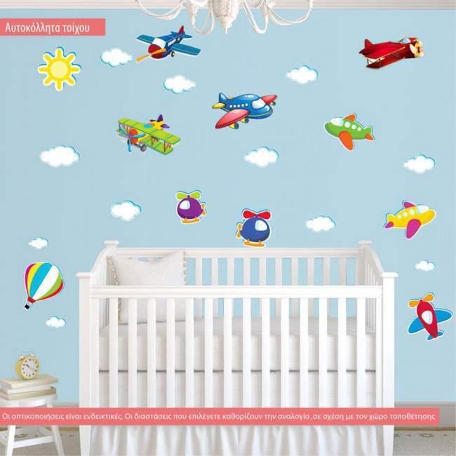 Αυτοκόλλητα τοίχου παιδικά Ιπτάμενη συλλογή μεγάλη, με αεροπλάνα