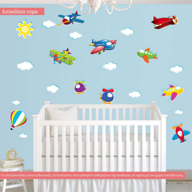 Kids wall stickers Large fly collection