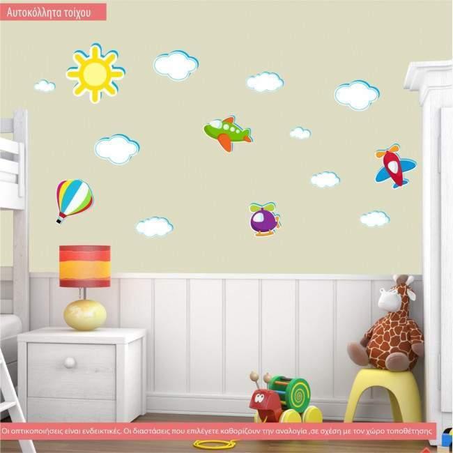 Αυτοκόλλητα τοίχου παιδικά Ιπτάμενη συλλογή μεσαία, με αεροπλάνα