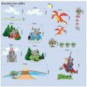 Kids wall stickers Knights , castle and dragon, large set