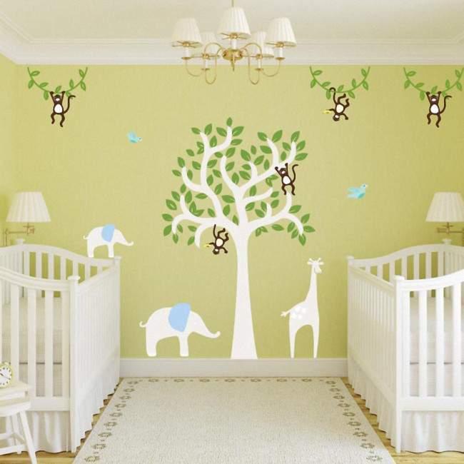 Kids wall stickers Tree with giraffe, elephants and monkeys, combination 2
