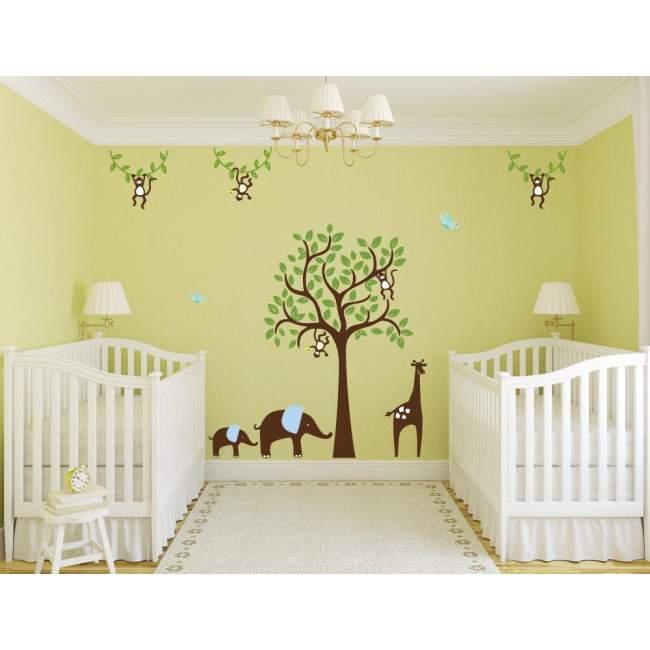 Αυτοκόλλητα τοίχου παιδικά Δέντρο με καμηλοπάρδαλη, ελεφαντάκια και μαϊμούδες, συνδυασμός 1