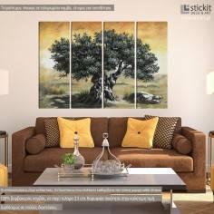 Canvas print Olive tree, four panels