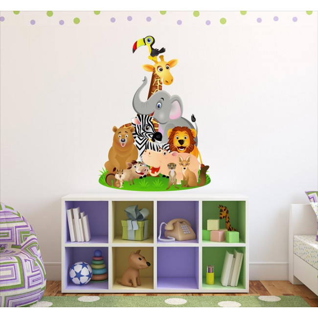 Kids wall stickers Animals of the jungle in a pyramid