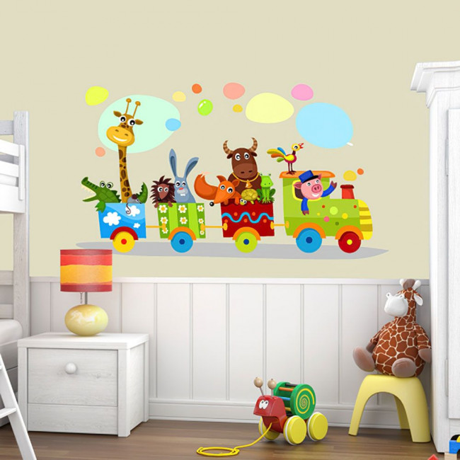 Kids wall stickers Happy train and animals
