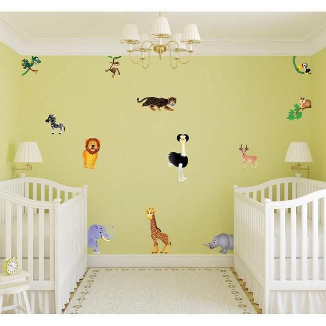 Αυτοκόλλητα τοίχου παιδικά Συλλογή από ζωάκια της ζούγκλας
