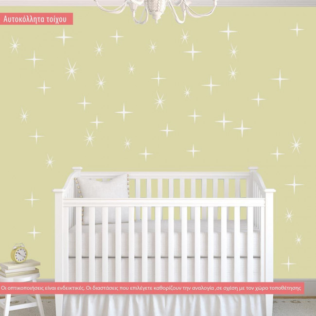 Wall stickers with colorful  stars, A cluster of stars.