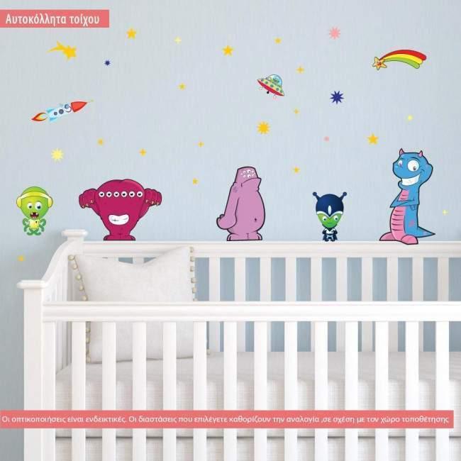 Αυτοκόλλητα τοίχου παιδικά Χαριτωμένοι εξωγήινοι, διαστημόπλοια και αστέρια.