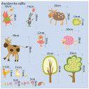 Wall stickers cow, piggy, kitten, sheep, bunnies, Farm animals