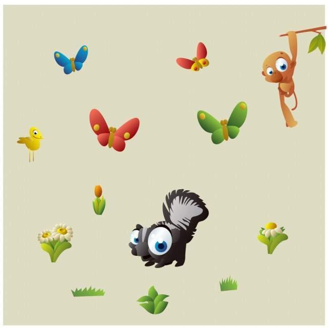 Αυτοκόλλητα τοίχου παιδικά Χαριτωμένα ζώα της Σαβάνας, Cartoon savanna animals, επιπλέον σχέδια