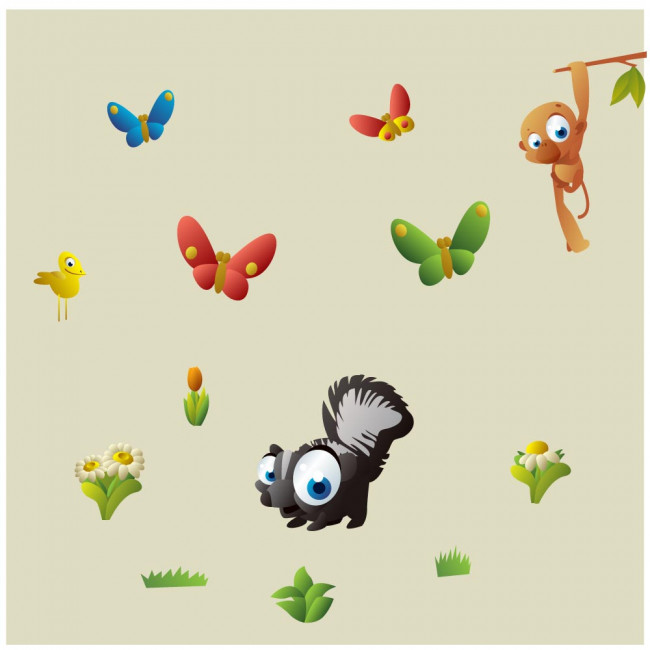Kids wall stickers Cartoon savanna animals, additional  illustration
