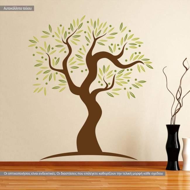 Αυτοκόλλητο τοίχου Olive tree art, ελιά δέντρο