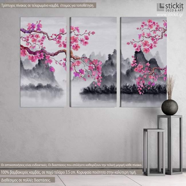 Πίνακας σε καμβά Spring Japanese scenery, τρίπτυχος
