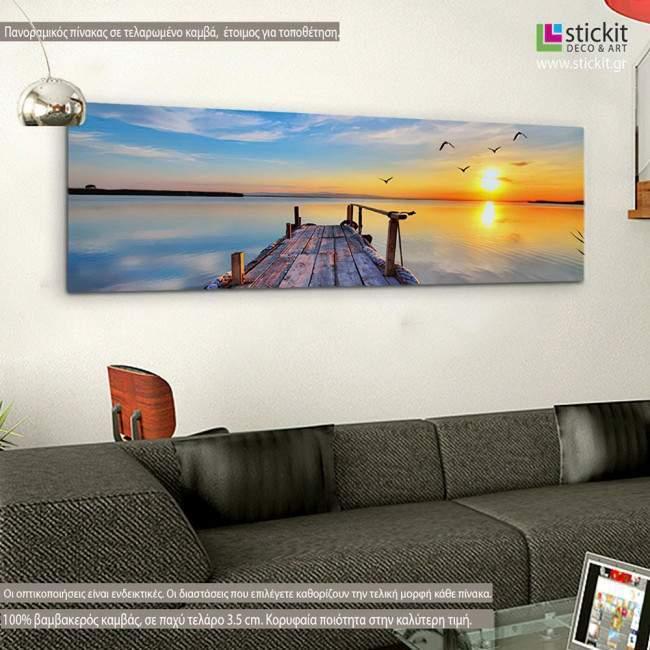 Πίνακας σε καμβά Sunset @ dock, πανοραμικός