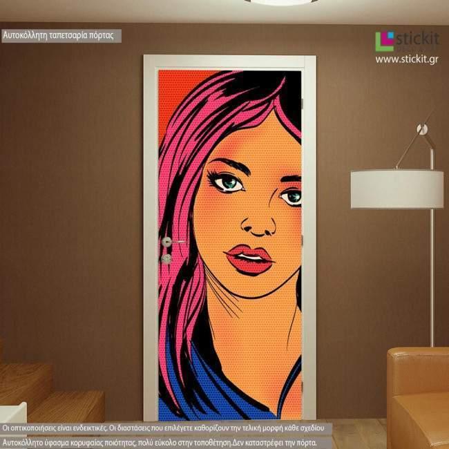 Αυτοκόλλητο πόρτας Pop art girl