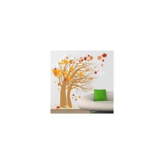 Αυτοκόλλητο τοίχου Φθινοπωρινό δέντρο με σύννεφα