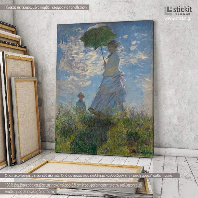 Πίνακας ζωγραφικής Woman with a parasol, Monet, αντίγραφο σε καμβά