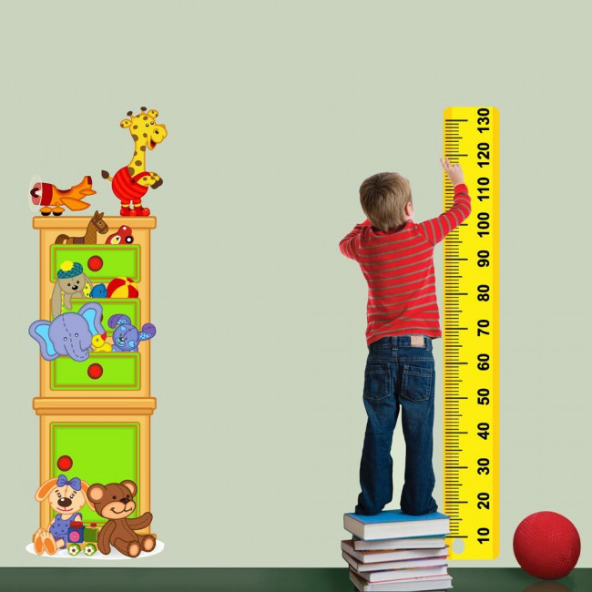 Wall stickers height measure Happy cabinet